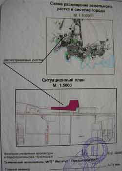 Схема размещения участка в системе города и ситуационный план.